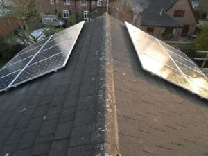 !6 x Hyundai 245W solar panels on east and west sides of roof