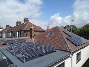 16 x Panasonic 240W solar panels on pitched roof and flat roof