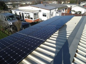 16 x Hyundai 250W solar panels 8 on each roof elevation