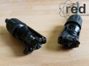 Melted d.c. connectors due to poor installation allowing water ingress.